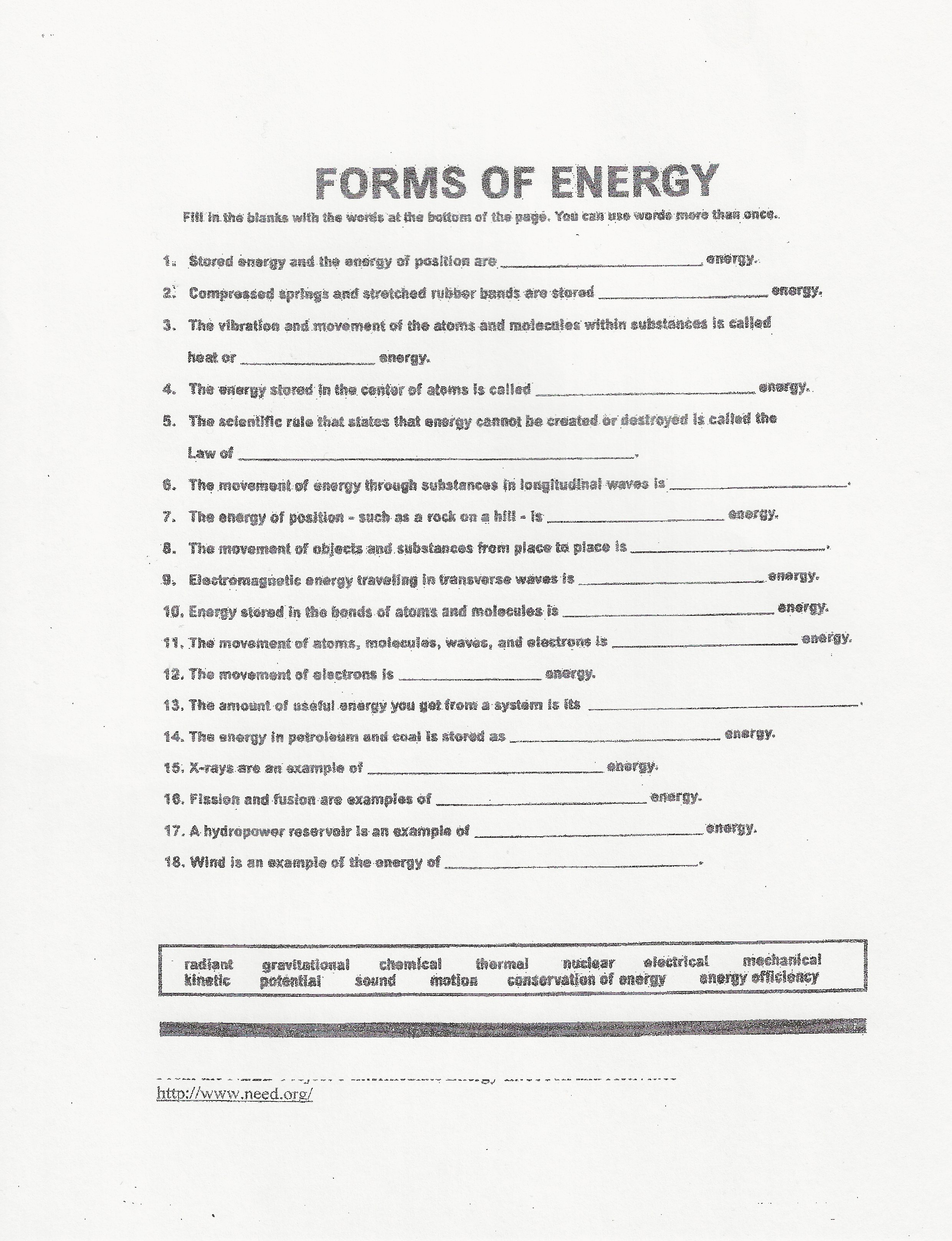 Motion And Electricity 4th Grade Worksheet