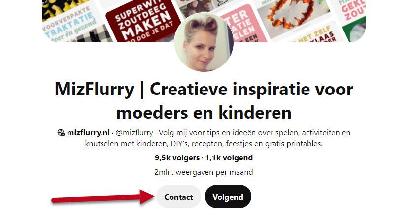 Screenshot contact button Pinterest profiel
