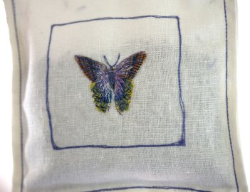 Lavender Bag with Embroidered Butterfly