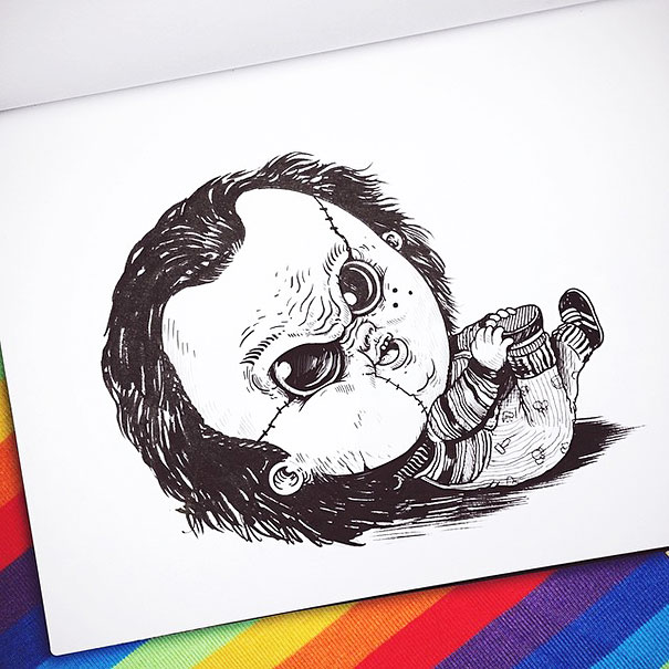baby-terrors-iconic-horror-monsters-illustrations-alex-solis-23