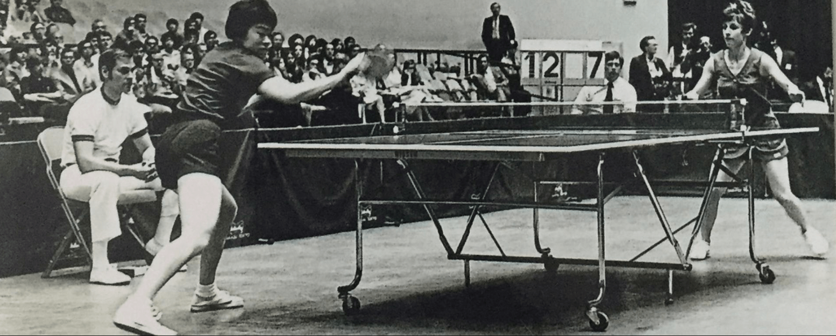Connie Sweeris playing with visiting chinese table tennis team member in 1972