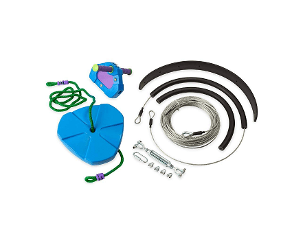 HearthSong 150' Blue Backyard Zipline Kit with breaks