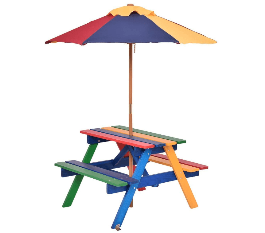 Costzon Kids Picnic Table Set With Umbrella