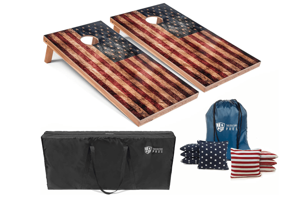 Tailgating Pros Rustic American Flag Cornhole Boards w/Bean Bags