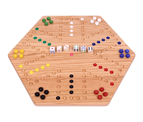AmishToyBox.com Oak Hand-Painted Double-Sided Aggravation Game Board