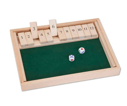 Bits And Pieces – Wooden Shut The Box 12 Dice Game Board