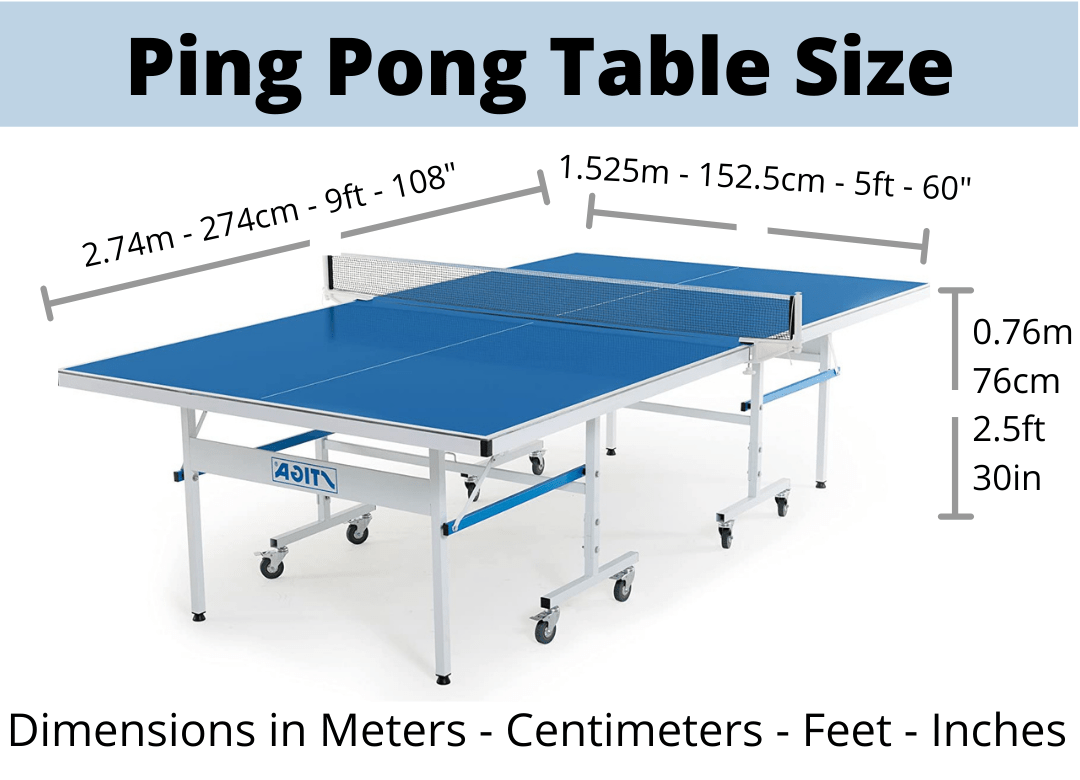 what is the size of an olympic ping pong table