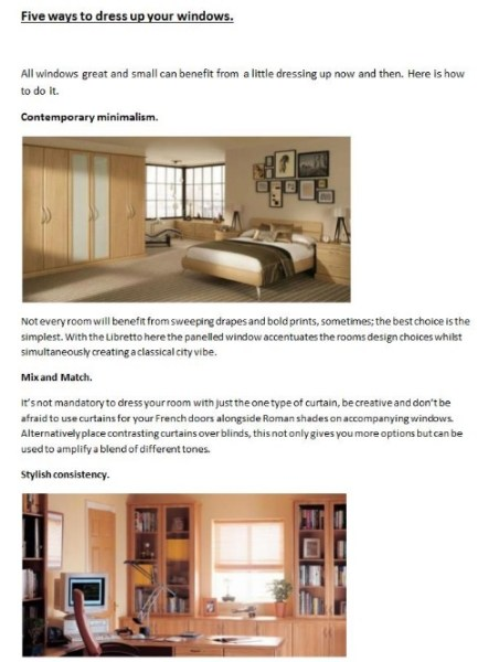 This is the first draft of a blog post for Hammonds Furniture. This is just one of a weekly blog post written on behalf of the client. Just click here to see the final post. https://www.hammonds-uk.com/blog/five-ways-dress-your-windows
