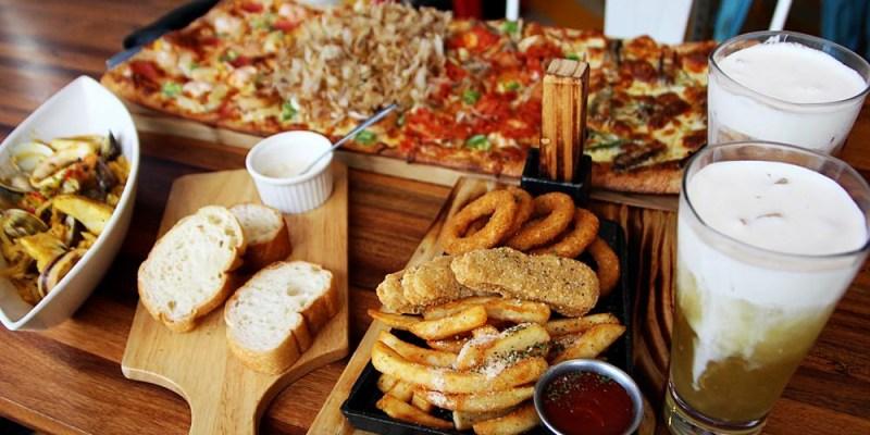 台中美食|貨櫃工業風的Pizza Factory披薩工廠 餐點CP值高又美味 乾燥花IG打卡點