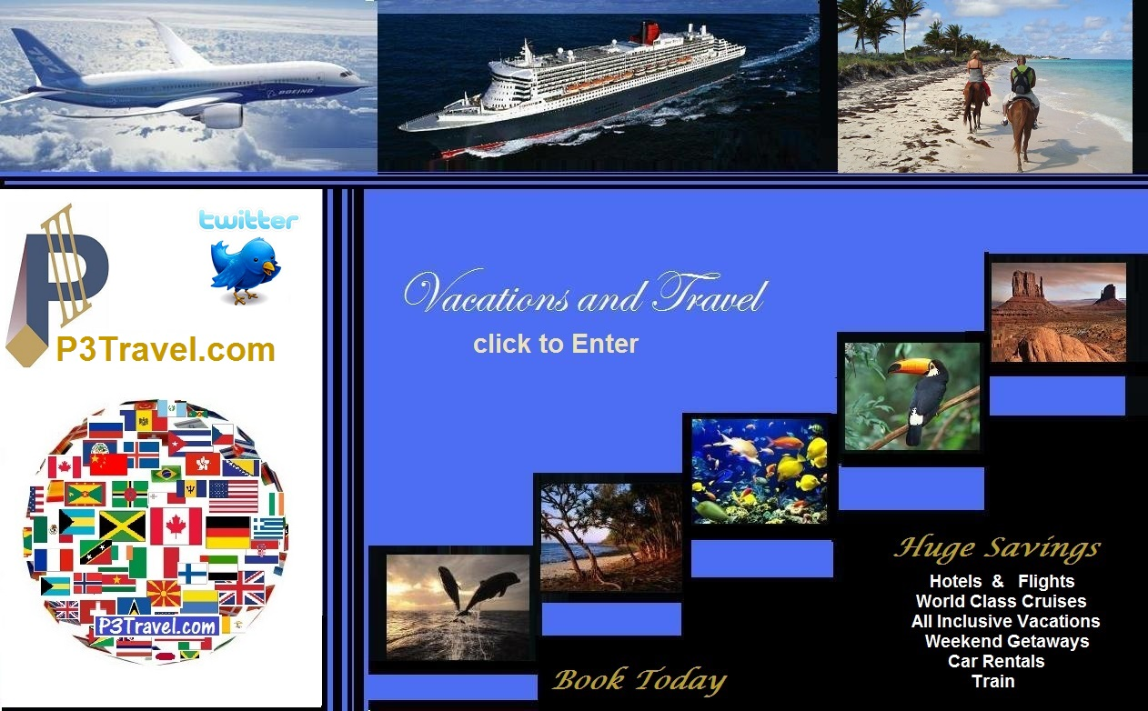 Cheap Vacations and Travel, All Inclusive Resorts, Cruises, Car Rentals, Train bookings.