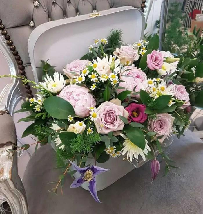 Suitcase floral arrangement