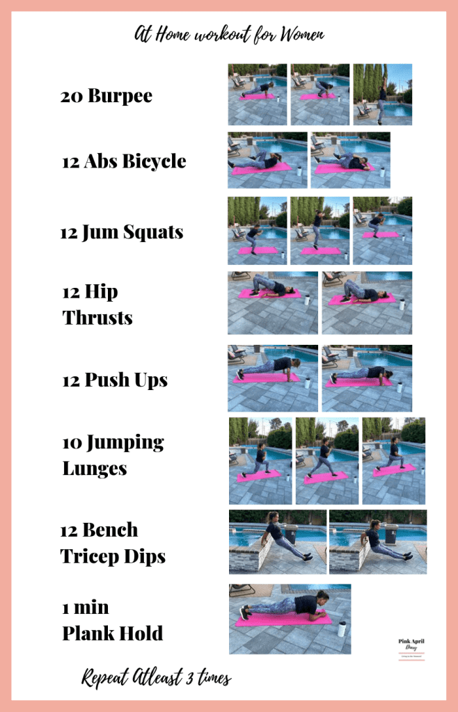 At Home Workout for Women Burpee Abs Bicycle Jump Squats Hip Thrusts Push Ups Jumping Lunges Bench Tricep Dips Plan Hold