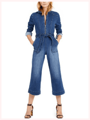INC Zip-Front Denim Cropped Jumpsuit