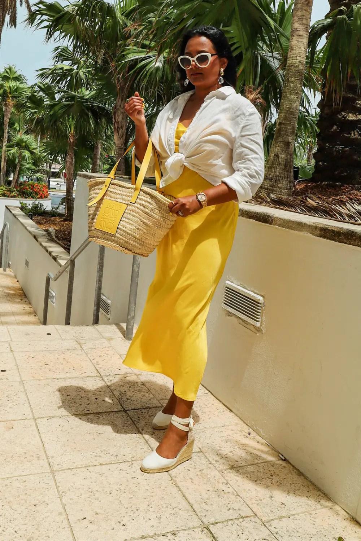White Shirt & Slip dress Outfit for beach resort