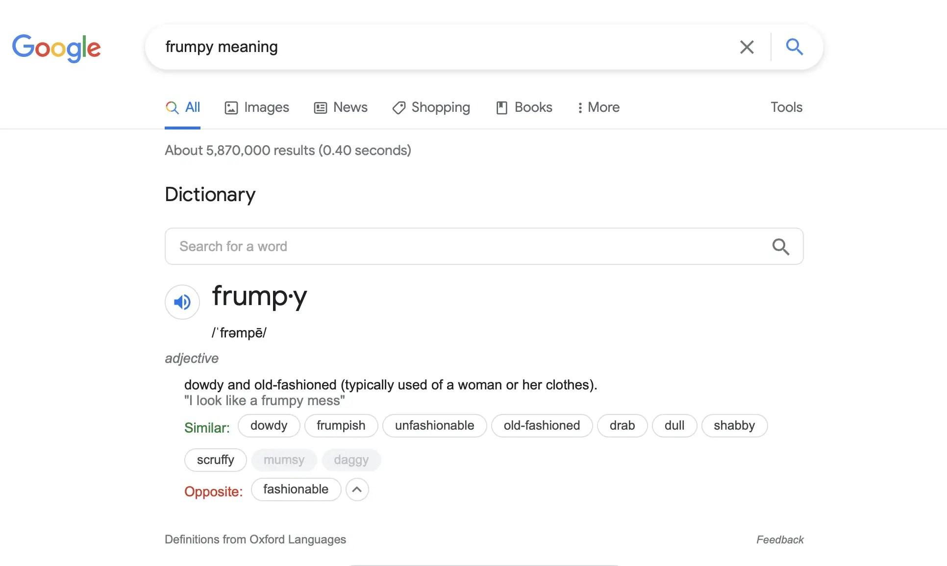 Definition of Frumpy