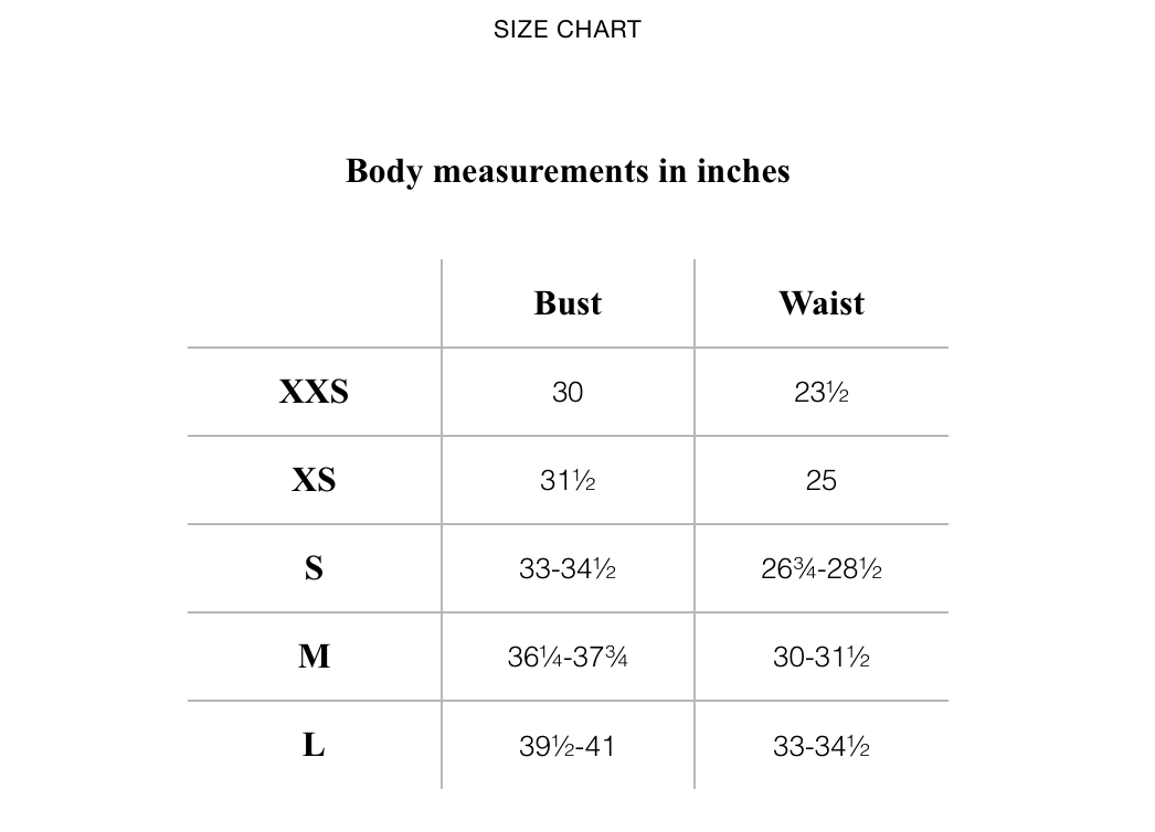 & Other Stories Sizing Chart