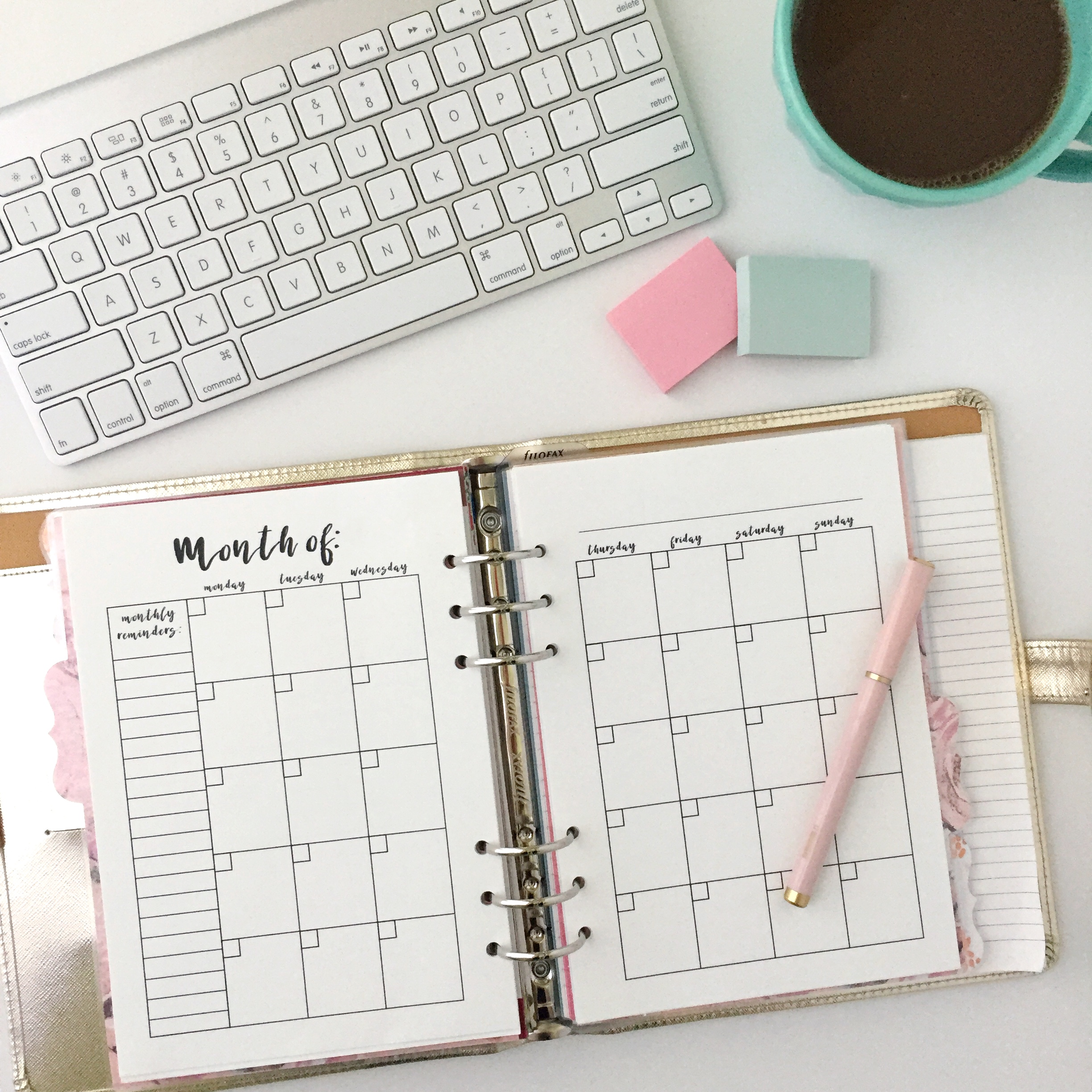 photograph about Free Printable Planners known as Month-to-month Calendar: Totally free Printable Planner Increase - Red Bows