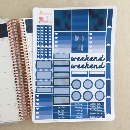 July Functional Planner Stickers: Free Printable - Pink Bows & Twinkle Toes