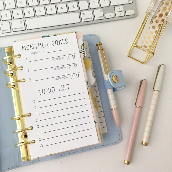 Personal Size, Monthly Goals + To-Do List Insert: Free Planner Printable