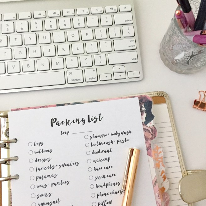 Packing Checklist Insert: Free A5 Planner Printable - Pink Bows & Twinkle Toes
