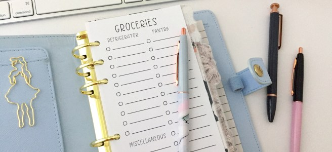 Grocery List Insert: Free Personal Size Planner Printable - Pink Bows & Twinkle Toes