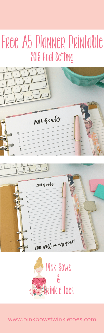 2018 Goal Planning Insert: Free A5 Planner Printable - Pink Bows & Twinkle Toes