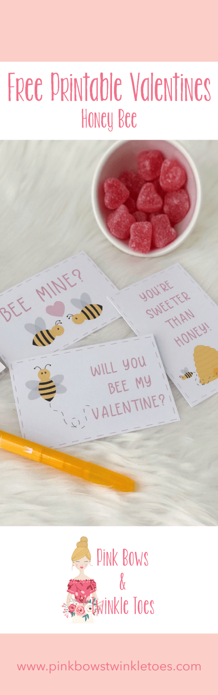 Holiday Freebie: DIY Printable Valentines - Pink Bows & Twinkle Toes