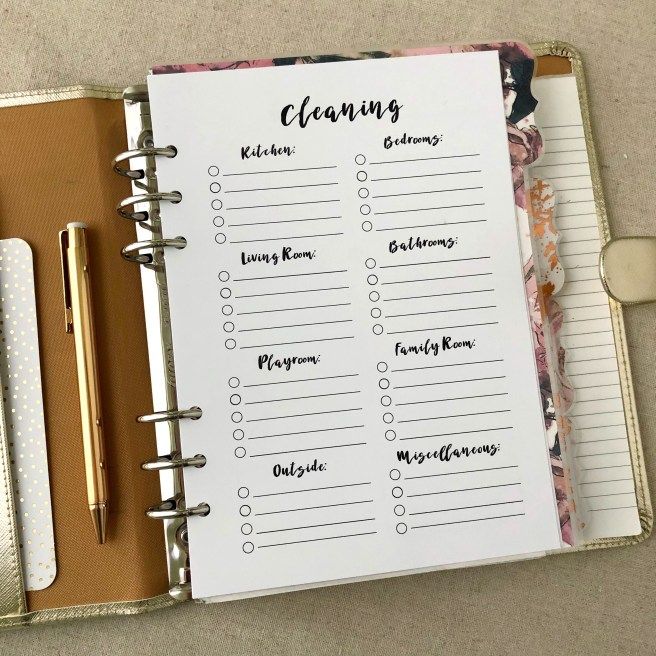 Cleaning Checklist Insert: Free A5 Planner Printable - Pink Bows & Twinkle Toes