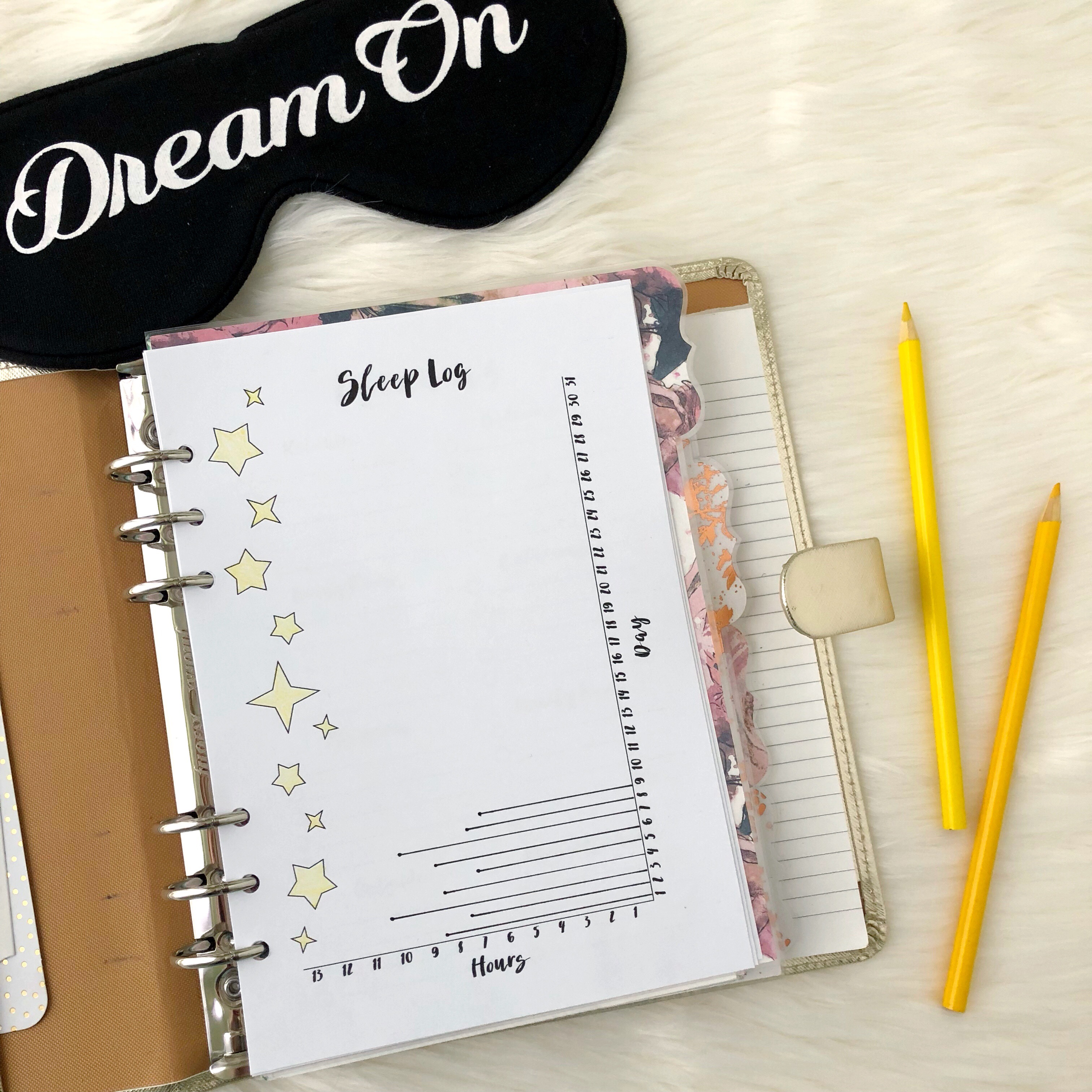 photo about A5 Planner Printable called Snooze Log Increase: Cost-free A5 Planner Printable - Purple Bows