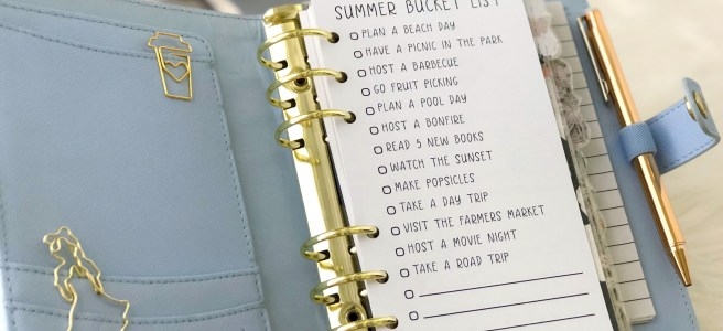 Personal-Size Summer Bucket List: Free Planner Printable Insert - Pink Bows & Twinkle Toes