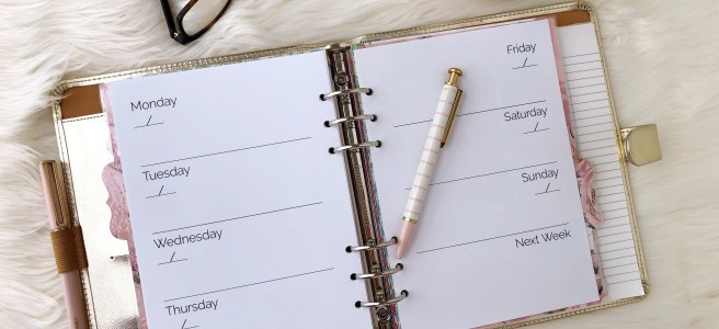 Weekly Calendar Printable: Classic Planner Insert - Pink Bows & Twinkle Toes
