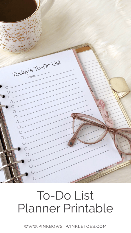 To-Do List Printable: Classic Planner Insert - Pink Bows & Twinkle Toes