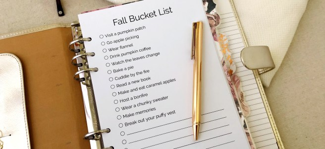 Fall Bucket List: Classic Planner Insert - Pink Bows & Twinkle Toes