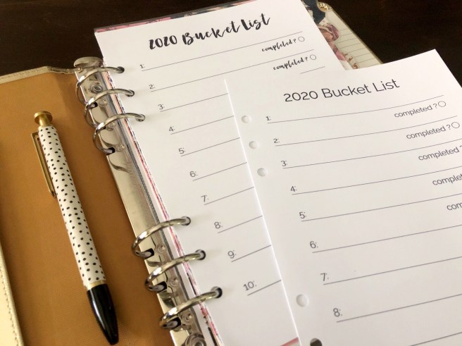 2020 Bucket List Printable: Planner Inserts - Pink Bows Twinkle Toes