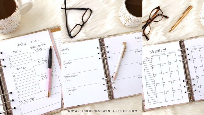Undated Printable Planner Inserts - Pink Bows & Twinkle Toes