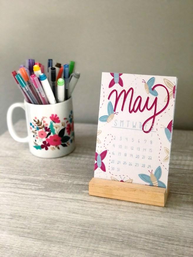 May 2021 Desktop Calendar - Pink Bows & Twinkle Toes