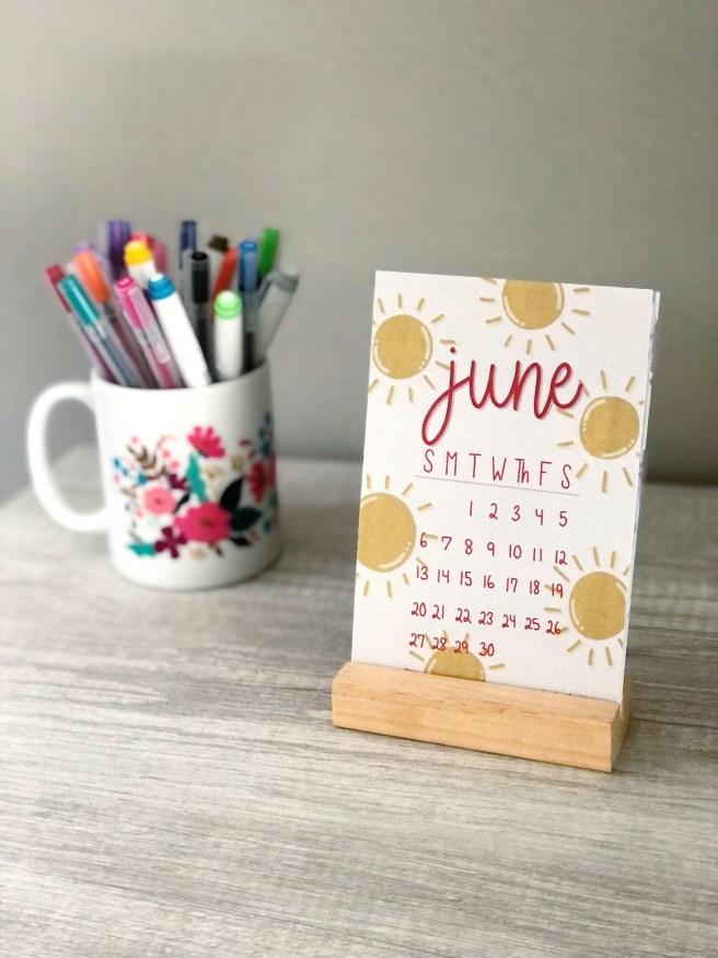 June 2021 Desktop Calendar - Pink Bows & Twinkle Toes