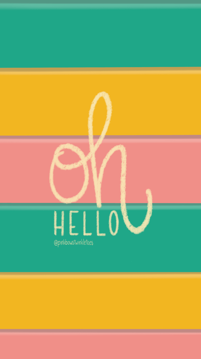 Hello Stripe Tech Wallpapers with Text - Pink Bows & Twinkle Toes
