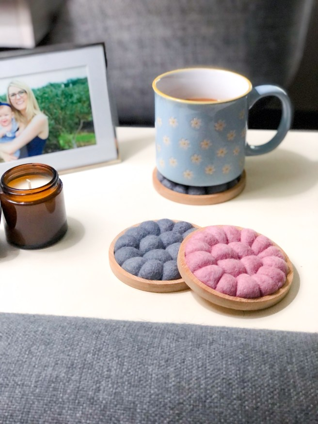 Completed pink and gray felt ball coasters - Pink Bows & Twinkle Toes