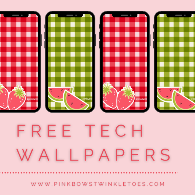 Gingham Tech Wallpapers - Pink Bows & Twinkle Toes