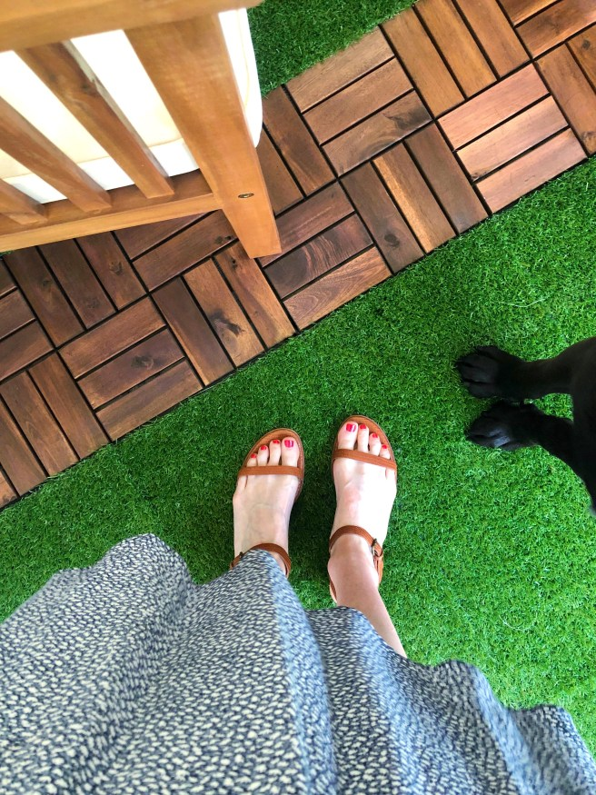 The Louise Sandals and Rock the Runway Nail Polish with Black Lab Paws nearby - Pink Bows & Twinkle Toes