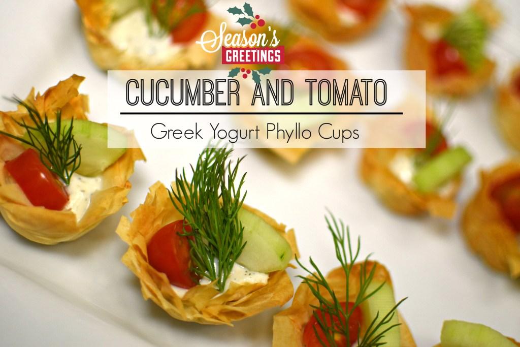 Cucumber and Tomato Greek Yogurt Phyllo Cups