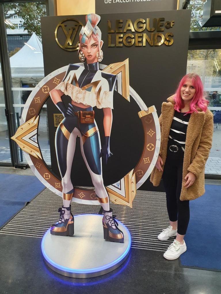 Print display of League of Legends with Louis Vuitton Branding