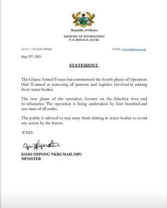 A press release by Minister of Information