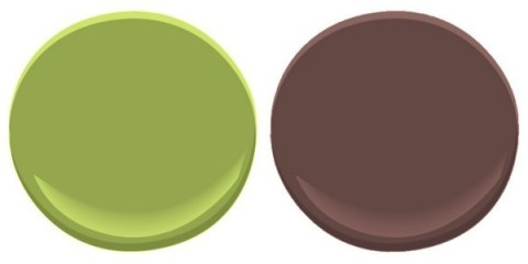 Benjamin Moore Huntington Green and Townsend Harbor Brown by coconutheadsurvivalguide.com