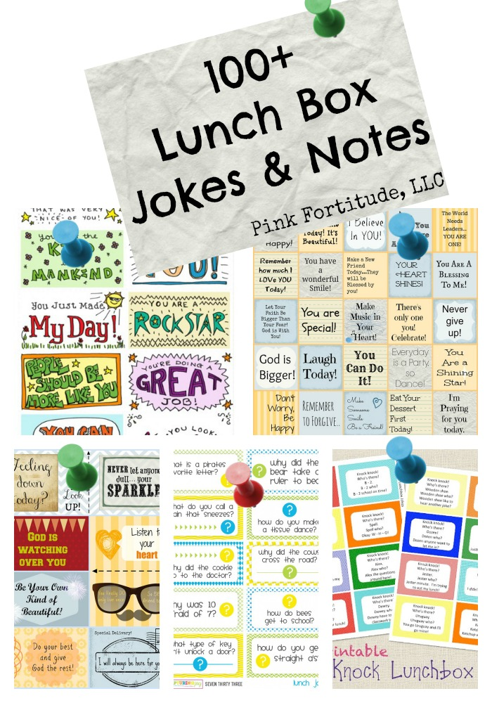 Back in the day, my favorite part of packing Stepson's lunch was adding in a joke or note to his lunch box.  I've curated over one hundred jokes and notes you can print for free, cut out, write your own message, and add to your own child's lunch box.
