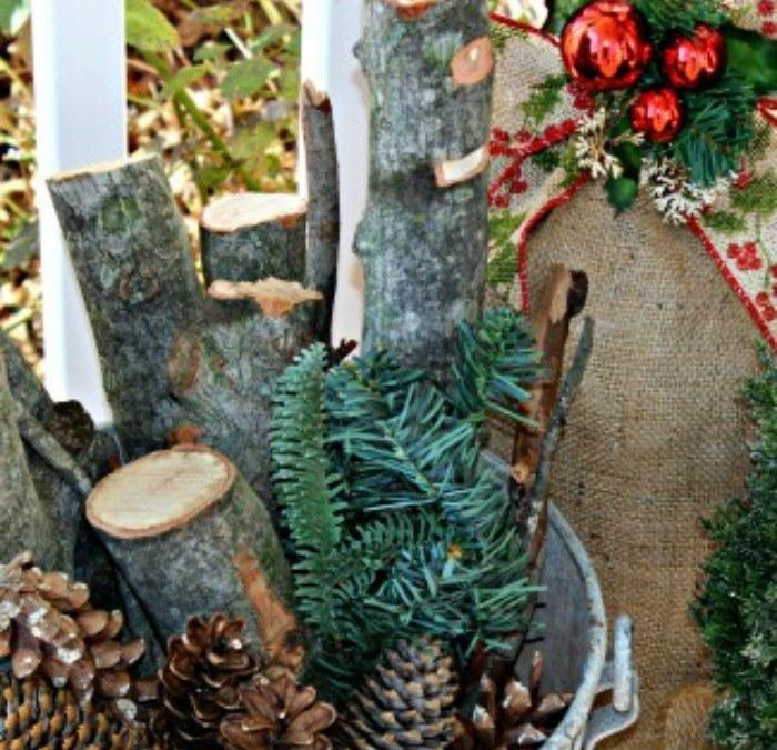 Rustic Christmas Porch Vignette