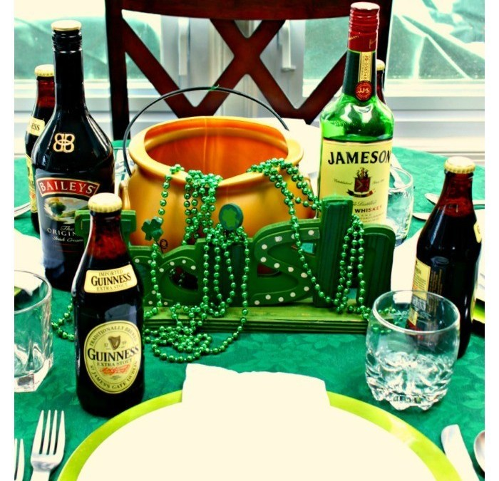 Guinness and a Pot of Gold Tablescape