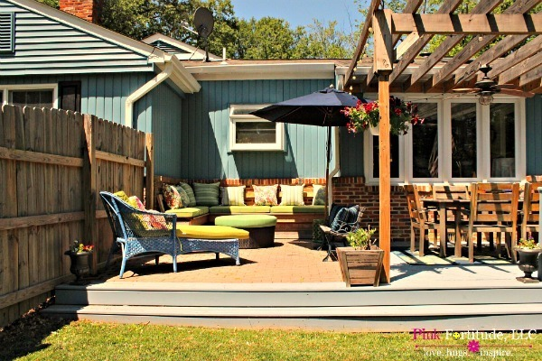 Mud Pit to Built in Bench Deck Transformation by coconutheadsurvivalguide.com
