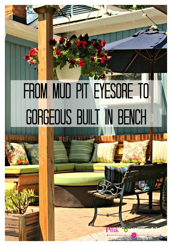 What used to be a mud pit and an eyesore, is now a gorgeous built-in bench. The transformation of the deck and veranda a must-see!